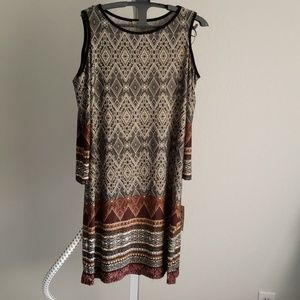 NWT Morracan Pattern Cold Shoulder Dress